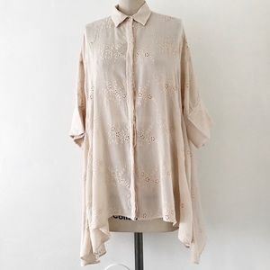 ZARA | Oversized Embroidered Pastel Pink Shirt